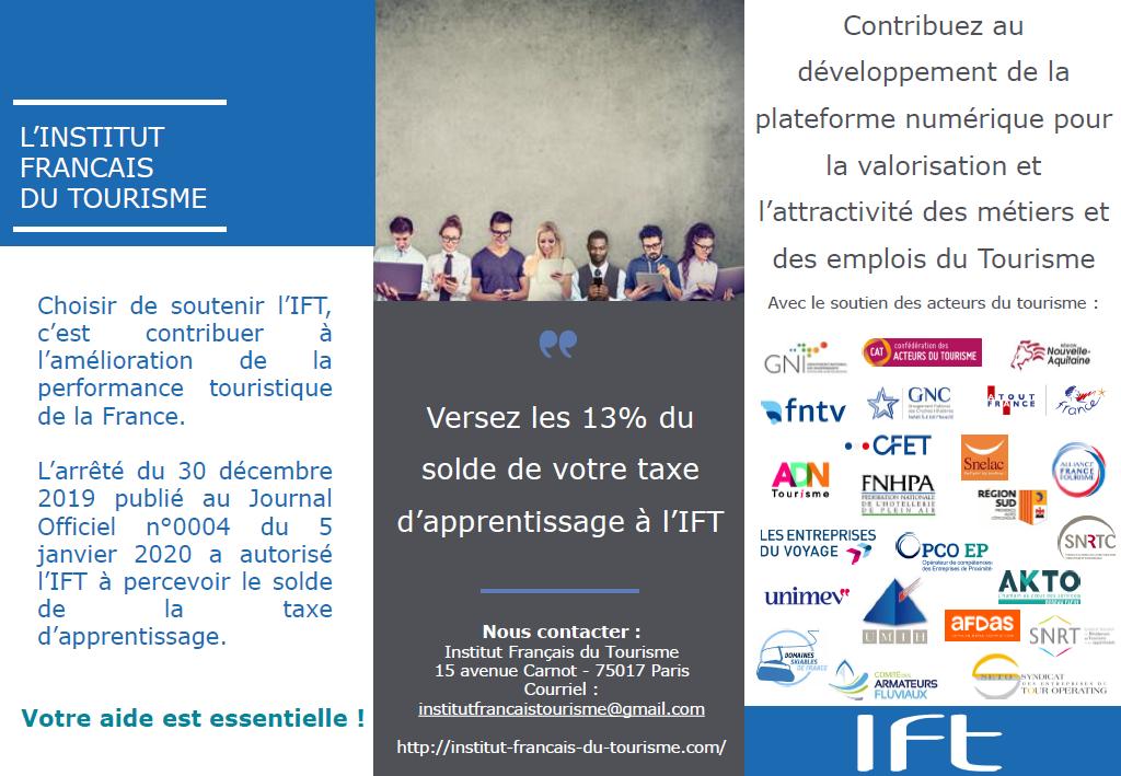 Versez votre taxe d'apprentissage pour soutenir la plateforme numérique pour la valorisation et l'attractivité des métiers et des emplois du Tourisme