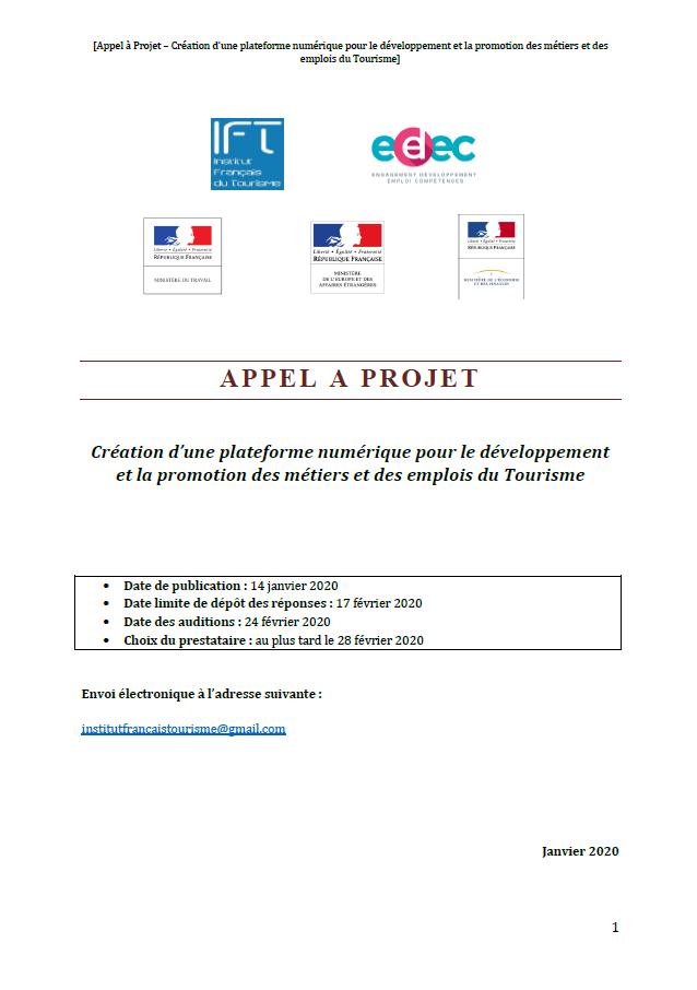 Création d'une plateforme numérique pour le développement et la promotion des métiers et des emplois du Tourisme
