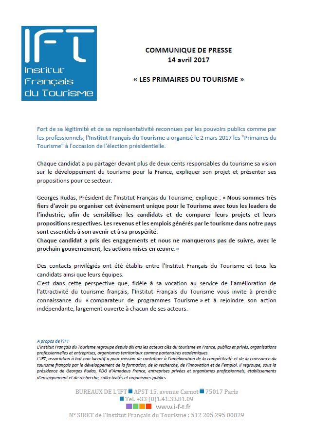 IFT Communiqué de presse Programmes des candidats
